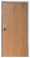 "Lakota Plain Sliced Red Oak Commercial Wood Door and Frame 3'-0"" x 6'-8"" (36"" x 80""), 1-3/4"" Solid Core Door with Steel Frame, Hinges, Lock, and Deadbolt, Made In USA (Specify Options)"