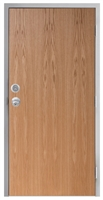 "Lakota Plain Sliced Red Oak Commercial Wood Door and Frame 3'-0"" x 6'-8"" (36"" x 80""), 1-3/4"" Solid Core Door with Steel Frame, Hinges, Knob Lock, and Deadbolt, Made In USA (Specify Options)"
