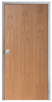 "Lakota Plain Sliced Red Oak Commercial Wood Door and Frame 3'-0"" x 6'-8"" (36"" x 80""), 1-3/4"" Solid Core Door with Steel Frame, Hinges and Knob Lock, Made In USA (Specify Options)"