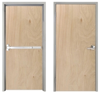 "Lakota Rotary Natural Birch Commercial Wood Door and Frame 3'-0"" x 6'-8"" (36"" x 80""), 1-3/4"" Solid Core Door with Steel Frame, Hinges, and Panic Rated Exit Device With Outside Lever, Made In USA (Specify Options)"