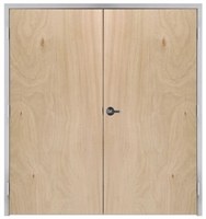 "Lakota Rotary Natural Birch Commercial Wood Door Pair and Frame 6'-0"" x 6'-8"" (72"" x 80""), 1-3/4"" Solid Core Door with Steel Frame, Hinges and Lockset, Made In USA (Specify Options)"