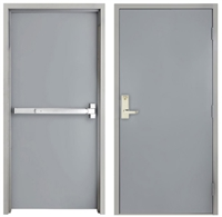 "42"" x 84"" Steel Door, Drywall Frame, Exit Device, Outside Escutcheon Lever"