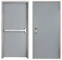 "42"" x 84"" Steel Door, Drywall Frame, Exit Device, Outside Pull"