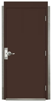 "Pre Hung Commercial Steel Door For Metal Building 3'-0"" x 7'-0"", Bronze Finish; 20 Gauge Door, 5-3/4"" Depth, Factory Assembled with Hinges, Lock, Latchguard, Threshold, Bottom Sweep and Weatherstrip, Made in USA"