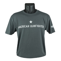BRAVO COMPANY AMERICAN GUN-FIGHTER T-SHIRT, SHORT SLEEVE, GRAY
