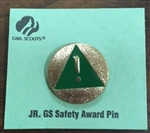 Old JR GS Safety Award Pin - RETIRED Girl Scout Junior Award