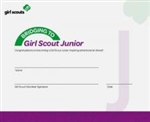 Bridge to Junior Girl Scout Certificate
