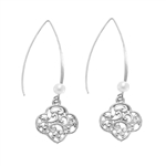 Filigree Trefoil and Pearl Drop Earrings