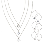 3-Pair Hoop Earring and Necklace Set