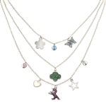 Triple Tier Unicorn Trefoil Charm Necklace