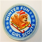 Winter Fun Patch - bear on sled