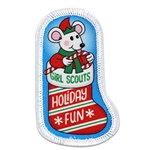 Holiday Fun Mouse in Stocking  Sew-On Patch