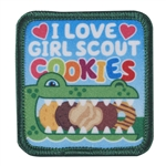 I Love Girl Scout Cookies Fun Patch (Crocodile)