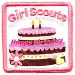 Iron-On Girl Scouts Happy Birthday Cake