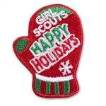 Happy Holidays Red Mitten Iron-On Fun Patch
