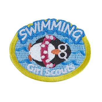 Swimming Penguin Iron-On Fun Patch