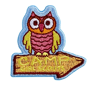 Camp Girl Scouts Iron-on Fun Patch - Owl on Sign