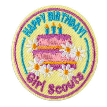 Happy Birthday Fun Patch (Pink Cake on Yellow)