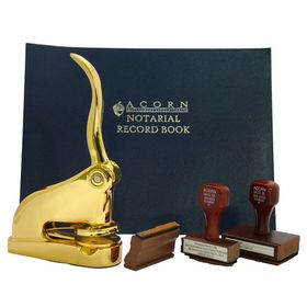 Gold Gift Executive Deluxe Notary Package with Hand Stamps