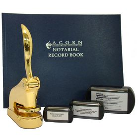 Gold Executive Deluxe Notary Package with Slim Stamps