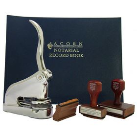 Chrome Gift Deluxe Notary Package with Hand Stamps