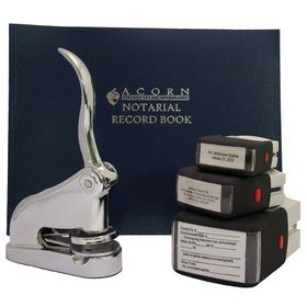 Chrome Deluxe Notary Package with S/I Stamps