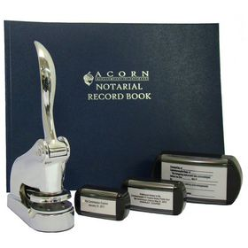 Chrome Deluxe Notary Package with Slim Stamps