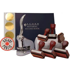 Supreme Chrome Gift Notary Seal Package with Hand Stamps