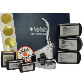 Supreme Chrome Notary Seal Package with Slim Stamps