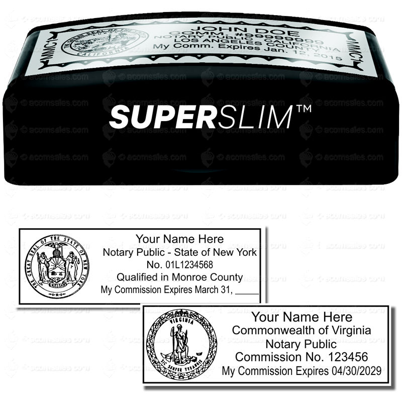 SUPER Slim Pre Inked State Seal Notary Stamp