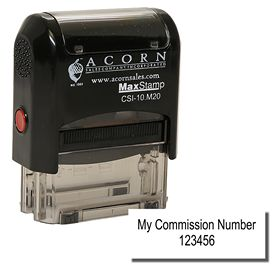 Self Inking Commission Number Stamp