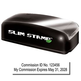 Slim Pre Inked Commission Number and Expiration Combo Stamp