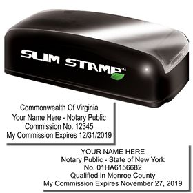Slim Pre Inked Commission ID Stamp