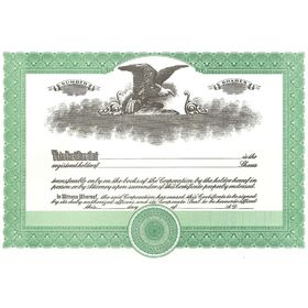 Short Form Green Stock Certificate