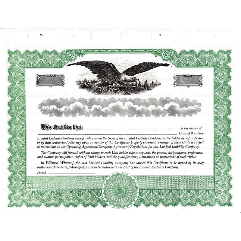 Llc certificate online stock certificates acorn sales green short form llc certificate yadclub Choice Image