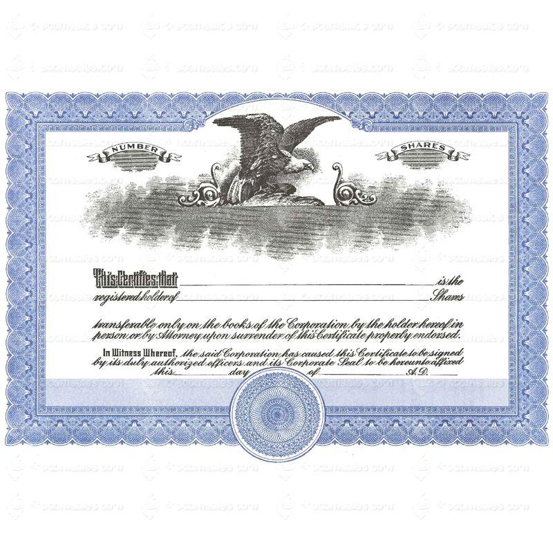 Short Form Blue Stock Certificate