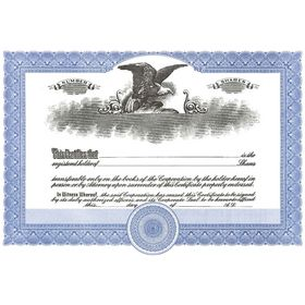 Short Form Blue Stock Certificate