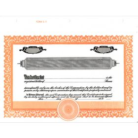 Short Form Orange Stock Certificate