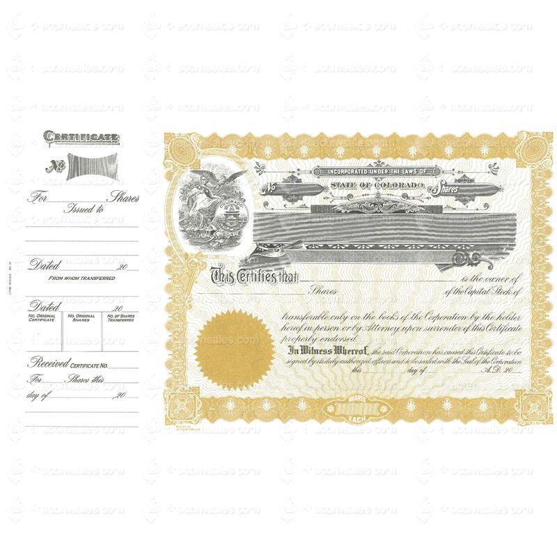 Colorado Stock Certificate Goes 90 Certificate Online