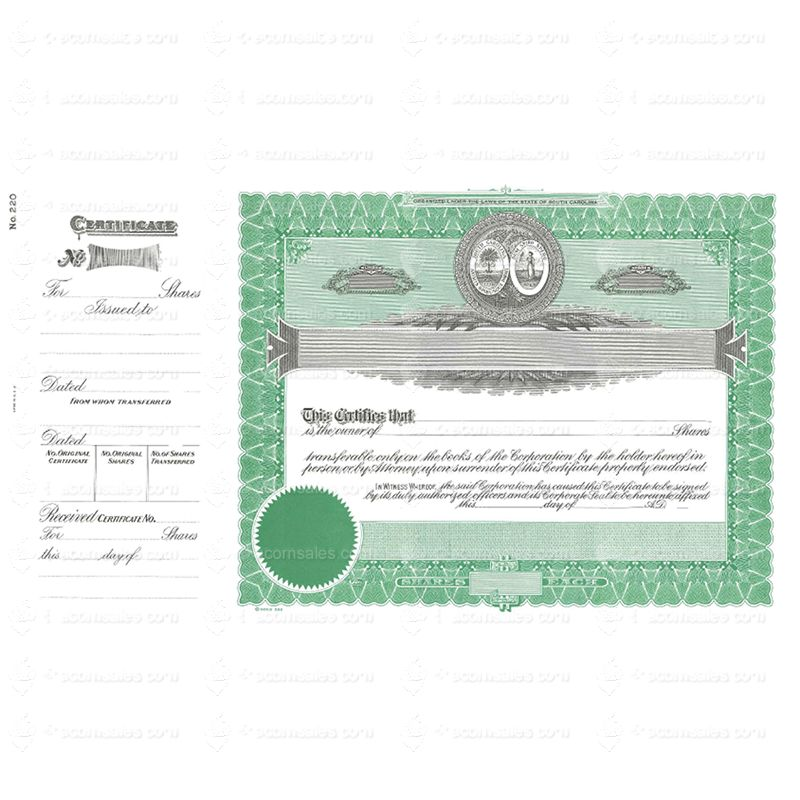 South Carolina Stock Certificate Goes 220 Certificate