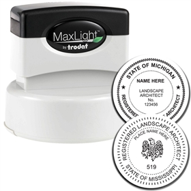 Landscape Architect MaxLight Pre Inked Rubber Stamp of Seal