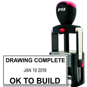 Self Inking Drawing Complete Date Stamp