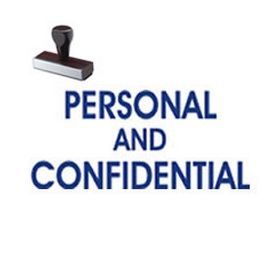 Personal Confidential Rubber Stamp