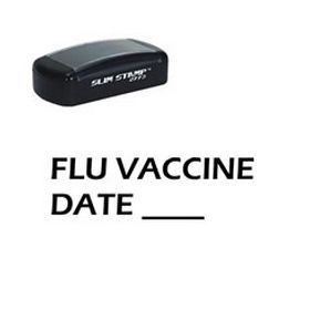 Slim Pre-Inked Flu Vaccine Date Stamp