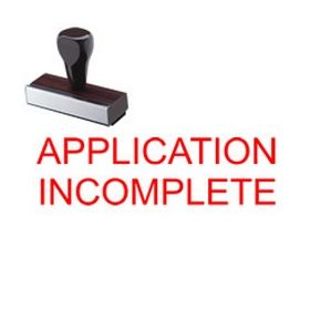 Application Incomplete Rubber Stamp