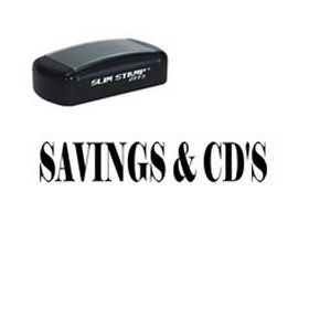 Slim Pre-Inked Savings & CDs Stamp