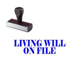 Living Will On File Rubber Stamp