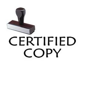 Certified Copy Rubber Stamp