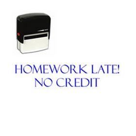 Self-Inking Homework Late No Credit Teacher Stamp