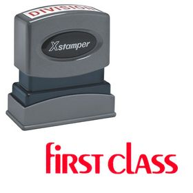 Bold Red First Class Xstamper Stock Stamp